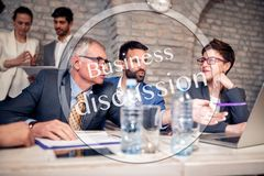 Discussion of business people on meeting royalty free stock image