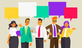Discussion of business people. News. Speech bubble. Vector illus vector illustration