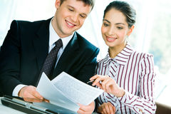 Discussion of business-plan stock image