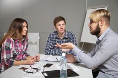 Discussion of business plans Stock Photos