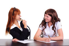 Discussion of businesswomen Stock Image