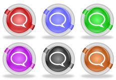 Discussion Chat Speech Bubble Web Icon Button Stock Photos