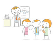 Discussion class. Doodle stick figure: Teacher giving a lessons to student in a discussion Royalty Free Stock Images