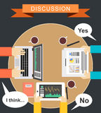 Discussion concept illustration. Meeting concept illustration. flat design. Brainstorming concept illustration. Define conclusion. Vector illustration Stock Photo
