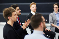 Business briefing. Discussion of confident professionals at business briefing Stock Photos