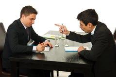 Discussion d'hommes d'affaires lors du contact photographie stock libre de droits
