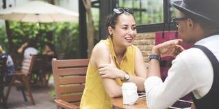 Discussion de communication de café d'amitié de personnes parlant Concep Images stock