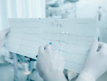 Discussion between doctors about the patient's cardiogram Stock Images