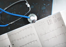 Discussion on documents (ECG) of the patient Stock Photography