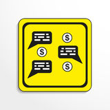 Discussion of Finance. Vector icon. Black-and-white object on a yellow background. Black-and-white object on a yellow background.  Vector icon Royalty Free Stock Photography