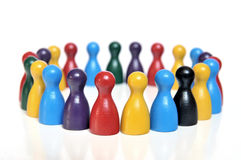 Discussion forum. Of multicolored toy figures on white background Royalty Free Stock Image
