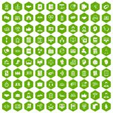 100 discussion icons hexagon green. 100 discussion icons set in green hexagon isolated vector illustration Stock Image