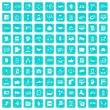 100 discussion icons set grunge blue. 100 discussion icons set in grunge style blue color isolated on white background vector illustration Stock Image