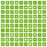 100 discussion icons set grunge green. 100 discussion icons set in grunge style green color isolated on white background vector illustration Stock Image