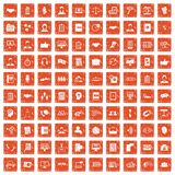 100 discussion icons set grunge orange. 100 discussion icons set in grunge style orange color isolated on white background vector illustration stock illustration