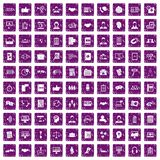 100 discussion icons set grunge purple. 100 discussion icons set in grunge style purple color isolated on white background vector illustration Stock Image