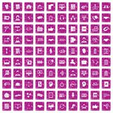 100 discussion icons set grunge pink. 100 discussion icons set in grunge style pink color isolated on white background vector illustration stock illustration