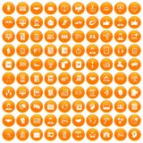 100 discussion icons set orange Stock Images
