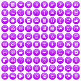 100 discussion icons set purple. 100 discussion icons set in purple circle isolated vector illustration royalty free illustration