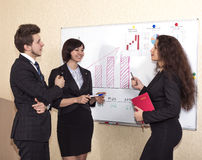Discussion near the wall chart Royalty Free Stock Photography