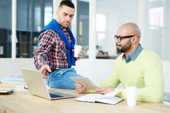 Discussion in office royalty free stock photos