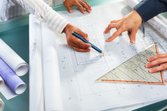Discussion over architecture design Stock Photos