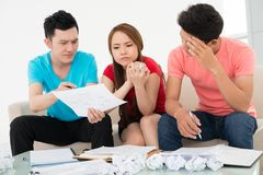 What does it mean?. Discussion process of a plan Stock Photo