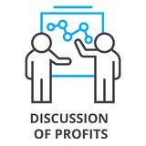Discussion of profits thin line icon, sign, symbol, illustation, linear concept, vector. Discussion of profits thin line icon, sign, symbol, illustation, linear royalty free illustration