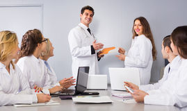 Discussion of research work Stock Images