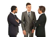 Discussion on three business men Stock Photos