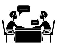 Discussion two partners - interview - questioning - examination icon. Discussion two partners - interview - questioning - examination icon, illustration, vector Stock Photography
