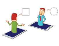 Discussion via smartphone Stock Image