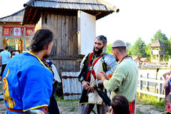Discussion of victories and defeats. International Championship on the historical medieval battle Call of heroes. It passes near Kiev, in the village of Royalty Free Stock Photos