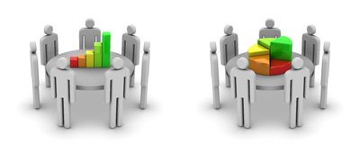 Discussion. White background, 3d render royalty free illustration