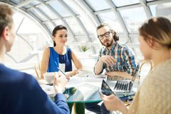 Discussion of working moments stock photos