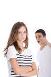 Discussione adolescente della sorella e del fratello Fotografia Stock Libera da Diritti