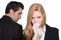 Discussione della donna e dell'uomo Immagini Stock