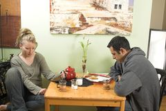 Discussione delle coppie Fotografie Stock
