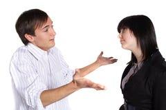 Discussione delle coppie Immagine Stock