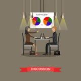 Discussione di affari in ufficio con i diagrammi a torta finanziari su una parete illustrazione di vettore di concetto illustrazione vettoriale