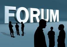 Discussione di gruppo della tribuna Immagine Stock