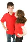 Discussione teenager delle coppie Fotografie Stock Libere da Diritti