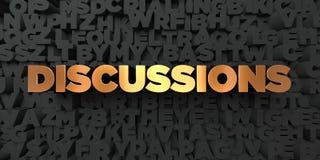 Discussions - texte d'or sur le fond noir - photo courante gratuite de redevance rendue par 3D Photo stock