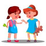 Discuta o vetor das meninas da criança Discuta o conceito dos povos Pessoa da discussão no campo de jogos Conflito e problema Ilu ilustração royalty free