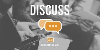 Discutez le concept parlant de discussion de négociation de discussion d'argument photo libre de droits