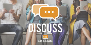 Discutez le concept parlant de discussion de négociation de discussion d'argument image libre de droits