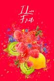 Diseñó ingeniosamente y cariñosamente la explosión de la fruta con las frambuesas, las zarzamoras, las fresas, los kiwis, el limó ilustración del vector