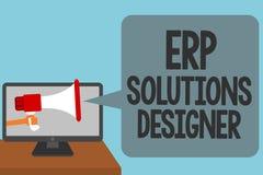 Diseñador de las soluciones del ERP del texto de la escritura de la palabra El concepto del negocio para alarmar posible modulari ilustración del vector