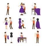 Diseñador de sexo masculino que adapta, midiendo y cosiendo para el sistema femenino del cliente ilustración del vector