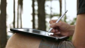Diseñador Drawing y escalamiento en la tableta usando la aguja en la naturaleza almacen de video